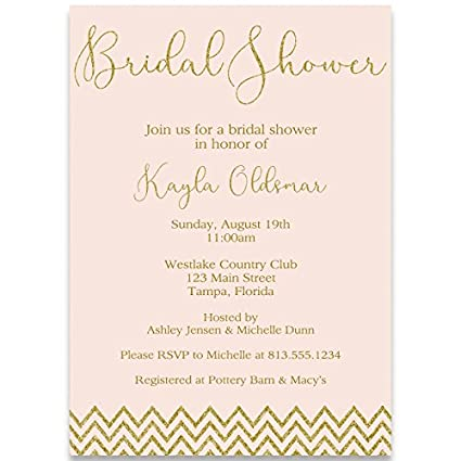 amazon com chevron glitter bridal shower invitations pink blush