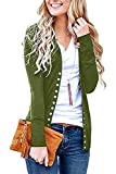 Women's S-3XL Solid Button Front Knitwears Long Sleeve Casual Cardigans Olive L