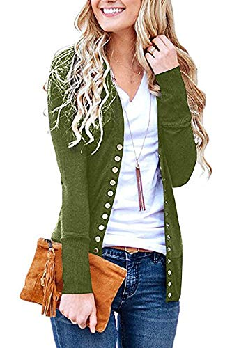Women's S-3XL Solid Button Front Knitwears Long Sleeve Casual Cardigans Olive XL