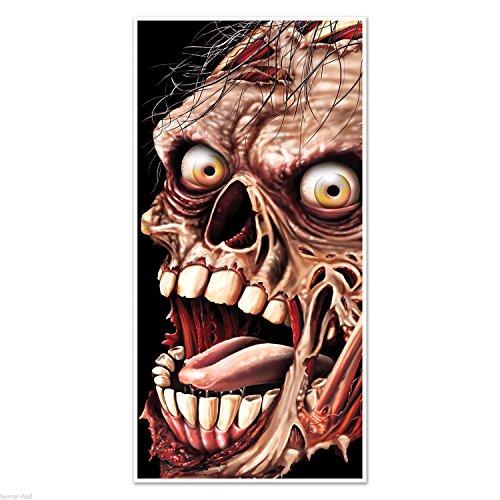 Creepy Giant ZOMBIE HEAD FACE DOOR COVER MURAL Halloween Horror Prop Decoration -
