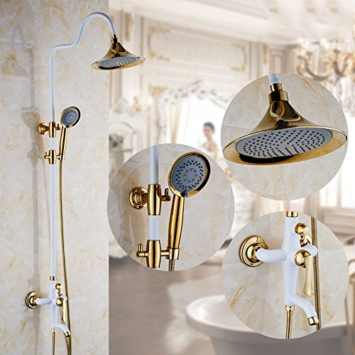 gold AiRobin-Continental Fashion Paint Bathroom Brass Rain Shower System,black