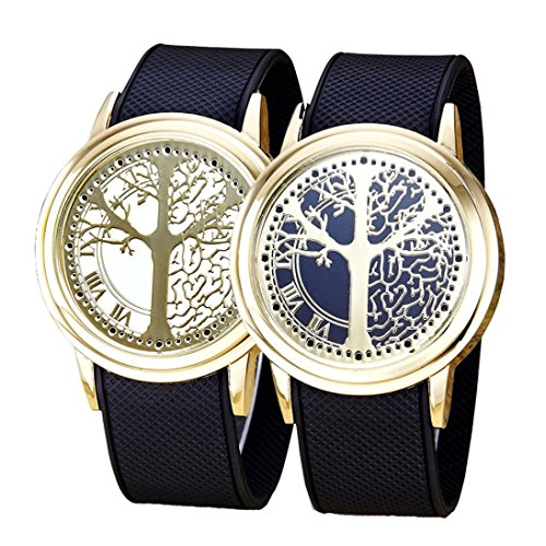 2 x watch,Siviki2018 Fashion Couple Touch Screen Circular Pattern Silicone Band LED Wrist Watch