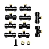"""1/4"""" Slip-Lock, Thread 10/24 UNC 0.4mm Orifice Outdoor Thread Mist Nozzle , Misting accessories, Outdoor Garden Brass Misting Nozzle, Patio Misting Kits, With Tees 10pcs, Nozzle 12pcs and 1 Plug for Cooling System By Hylaea"""