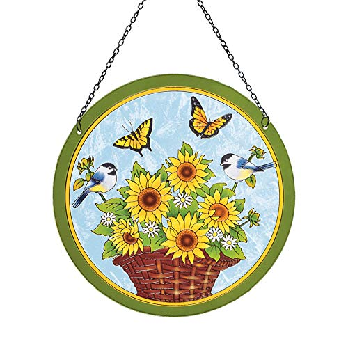 - Collections Etc Hanging Sunflower Basket with Butterflies and Chickadees Window Suncatcher, Hanging Chain Attached