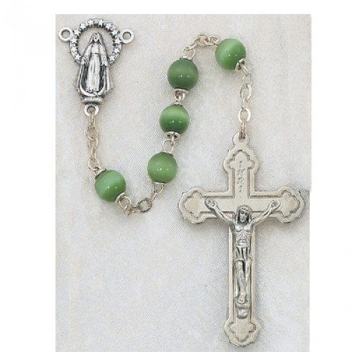 Cat Eye Rosary Crucifix (7MM GREEN Cats Eye Rosary Religious Cross Crucifix Necklace Catholic Christian)