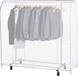 Growson Garment Rack Cover,6Ft Transparent Dust Clothes Cover with Double Full-Length Front Zippers, Cover for Clothing Hanging Rack