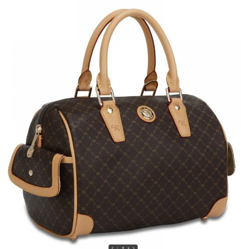 Signature Brown Small Boston Bag by Rioni Designer Handbags & - Stores Boston In Designer
