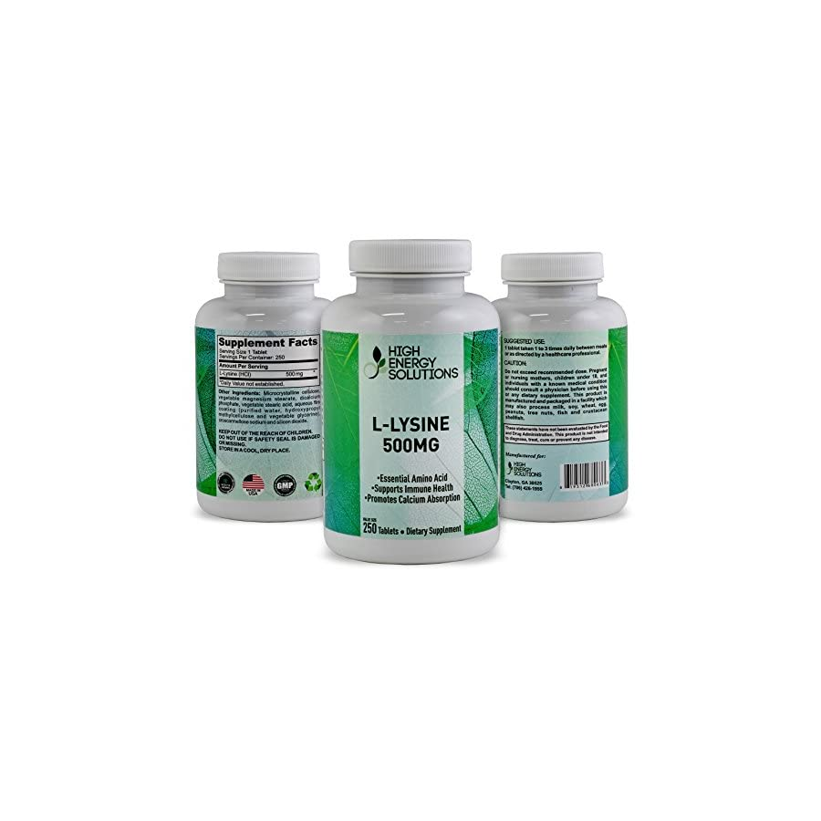 HIGH ENERGY SOLUTIONS L LYSINE Value Sized 250 Tablet Bottle 100% Pure Potent 500MG Essential Amino Acid Tablets For Amazing Health Benefits Ultimate Bio Availability And Absorption GMP USA