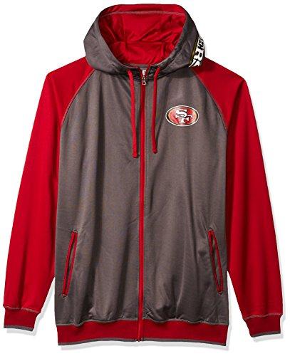 NFL San Francisco 49ers Men FULL ZIP POLY FLEECE RAGLAN, CHAR/C RED, 4X