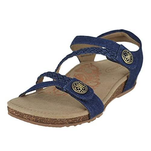 Aetrex Womens Jillian Quarter Strap Sandale Denim