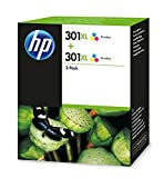 HP D8J46AE) 301XL High Yield Original Ink Cartridges, Tri-color, Pack of 2