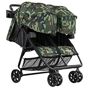 ZOE XL2 BEST v2 Lightweight Double Travel & Everyday Umbrella Twin Stroller System (Camo)