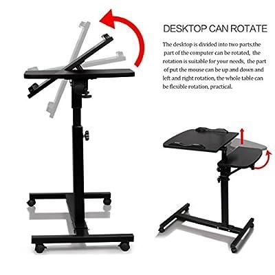 Laptop Desk,Vanvler Turn Lift Sit-Stand  Adjustable Laptop Table  Multifunction Computer Desk Cart