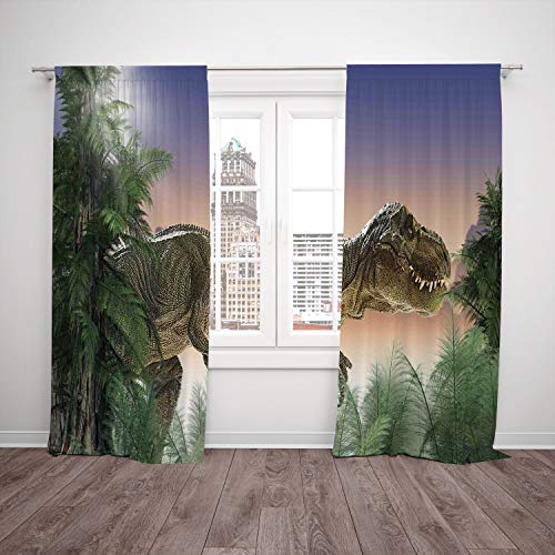 SCOCICI Polyester Window Drapes Kitchen Curtains [ Jurassic Decor,Dinosaur in The Jungle Trees Forest Nature Woods Scary Predator Violence] Bedroom Living Room Dorm Kitchen Cafe from SCOCICI