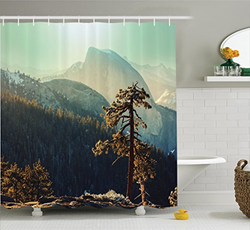 Farm House Decor Shower Curtain Set by Ambesonne, Yosemite National Park From the Top of Mountain Misty Morning Landscapes Photo, Bathroom Accessories, 75 Inches Long, Teal Brown