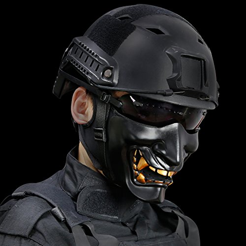 Airsoft/costume (HYOUT Half Face Airsoft Mask,Halloween Costume Cosplay BB Evil Demon Monster Kabuki Samurai Hannya Oni,Black)