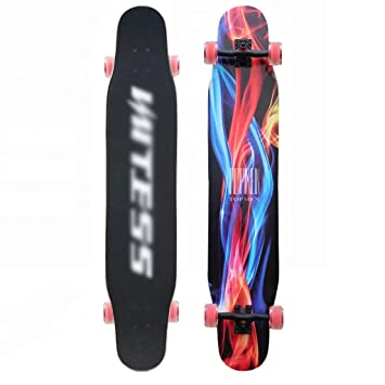 DUWEN Skateboard Maple Longboard Scooter de Cuatro Ruedas Teen Brush Street Boys and Girls Dance Board Principiante Adulto Skateboard (con Flash Wheel) ...