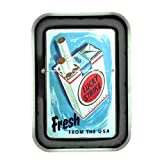 Windproof Refillable Oil Lighter with Tin Gift Box Lucky Strike Design-027