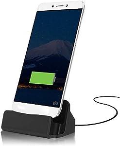 FNSHIP Cell Phone Dock Stand Station,Micro USB Desktop Dock Cradle Holder for Cell Phone Samsung, Eclipse,Mission,J3V, Moto (Black)