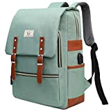 College Bag Fits up to 15.6'' Laptop Casual Rucksack Waterproof Business Travel School Backpack Daypacks with USB Unisex(LightGreen)