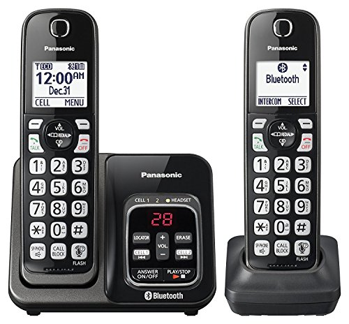 Panasonic KX-TGD562M Link2Cell Bluetooth Cordless Phone with Voice Assist and Answering Machine - 2 Handsets (Renewed) - Panasonic Blue Telephone