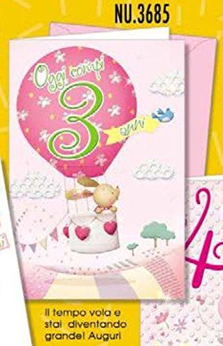 Tarjeta Felicitación oso cumpleaños birllantini 3 años niña ...