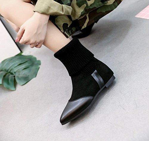 KHSKX-Calcetines Botas De Otoño E Invierno Femenino Nuevo Negro De Felpa Calientan El Aire Martin Botas Botas Planas Señaló Retro 38