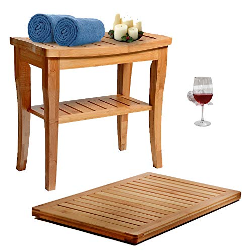 Bamboo Shower Bench Seat Wooden with Bathroom Floor Mat, For Spa Bath Deluxe Organizer Stool With Storage Shelf For Seating Chair, Perfect For Indoor and Outdoor Decor, Made of 100% Natural Bamboo