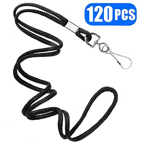 Black Lanyards Premium Bulk Lanyards Round 34 with Swivel J Hook for ID Name Badge Holder, VIP, School, Kids, Coach, Conference, Festival and Hang Keys by BAITEER - 1 Year Warranty (120PCS)