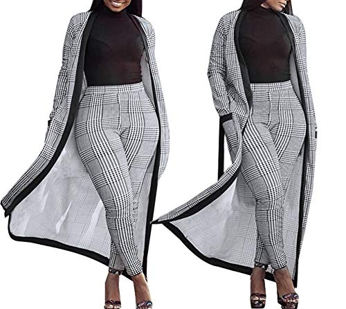 Nhicdns Womens 2 Piece Outfits Open Front Cardigan Stripe and Floral Cover up with Leggings (Open Cardigan Stripe)