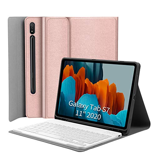 Keyboard Case for Samsung-Galaxy-Tab S7 11 - JUQITECH Smart Case with Keyboard for Galaxy Tab S7 11 Inch SM-T870/T875 2020 Tablet Magnetic Detachable Wireless Keyboard Cover with S Pen Holder, Pink