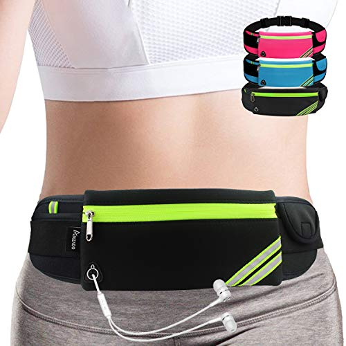 Slim Running Belt Fanny Pack,Waist Pack Bag for Hiking Fitness Cycling Workout Gym,Reflective Runners Belt Jogging Pocket Belt for iPhone XS,XR,7 8 Plus,Travelling Money Phone Holder for Running (Running Belt Iphone)