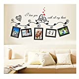 Gorgeous Adhesive Rooms Walls Vinyl DIY Stickers / Murals / Decals / Tattoos With Love Birds, Red Hearts, Photos Frames And Quote / Text Designs By VAGA