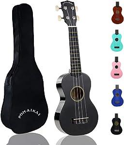 POMAIKAI Soprano Wood Ukulele Rainbow Starter Uke Hawaii kids Guitar 21 Inch with Gig Bag for kids Students and Beginners (Black)