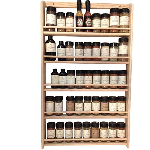 EmejiaSales Oak Spice Rack Wall Mount Organizer (5-Shelf Design), Hanging Natural Wood Country Rustic Style, Great Storage for Pantry and Kitchen - Holds 45 Herb Jars by EmejiaSales