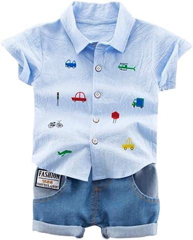 Handfly Baby Boy Ropa de Verano Juego Niños bebés de Manga Corta Dibujos Animados Imprimir Tops Blusa Camisa + Shorts Niños Conjuntos Casuales: Amazon.es: Ropa y accesorios
