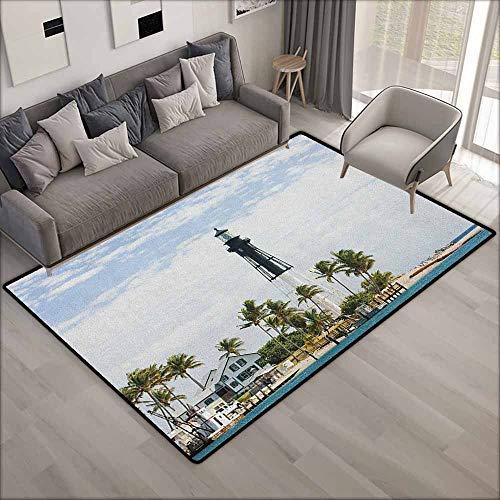 Indoor/Outdoor Rug,United States Hillsboro Lighthouse Pompano Beach Florida Atlantic Ocean Palms Coast,Anti-Slip Doormat Footpad Machine Washable,5'6