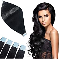 TOFAFA 16 inches 40Gram 20Pieces Remy Human Hair Extensions Tape In off black Tape Hair Extensions #1