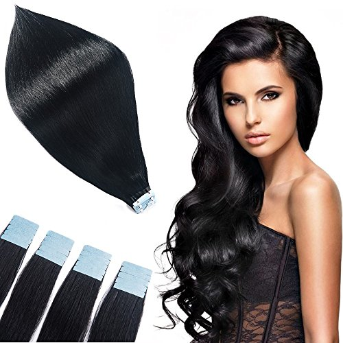 TOFAFA 20 Inch Invisible Seamless Tape In Hair Extensions Double Side Tape In Cuticle Human Hair Extensions 20 Pieces 40g/pack