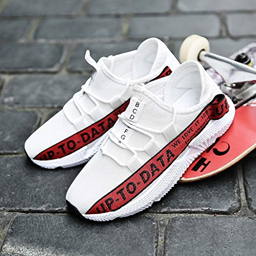 Men's Casual Letter Printing Increased Shoes Wild Fashion Sports Shoes Mesh Breathable Sports Shoes Red by Lloopyting (Image #6)