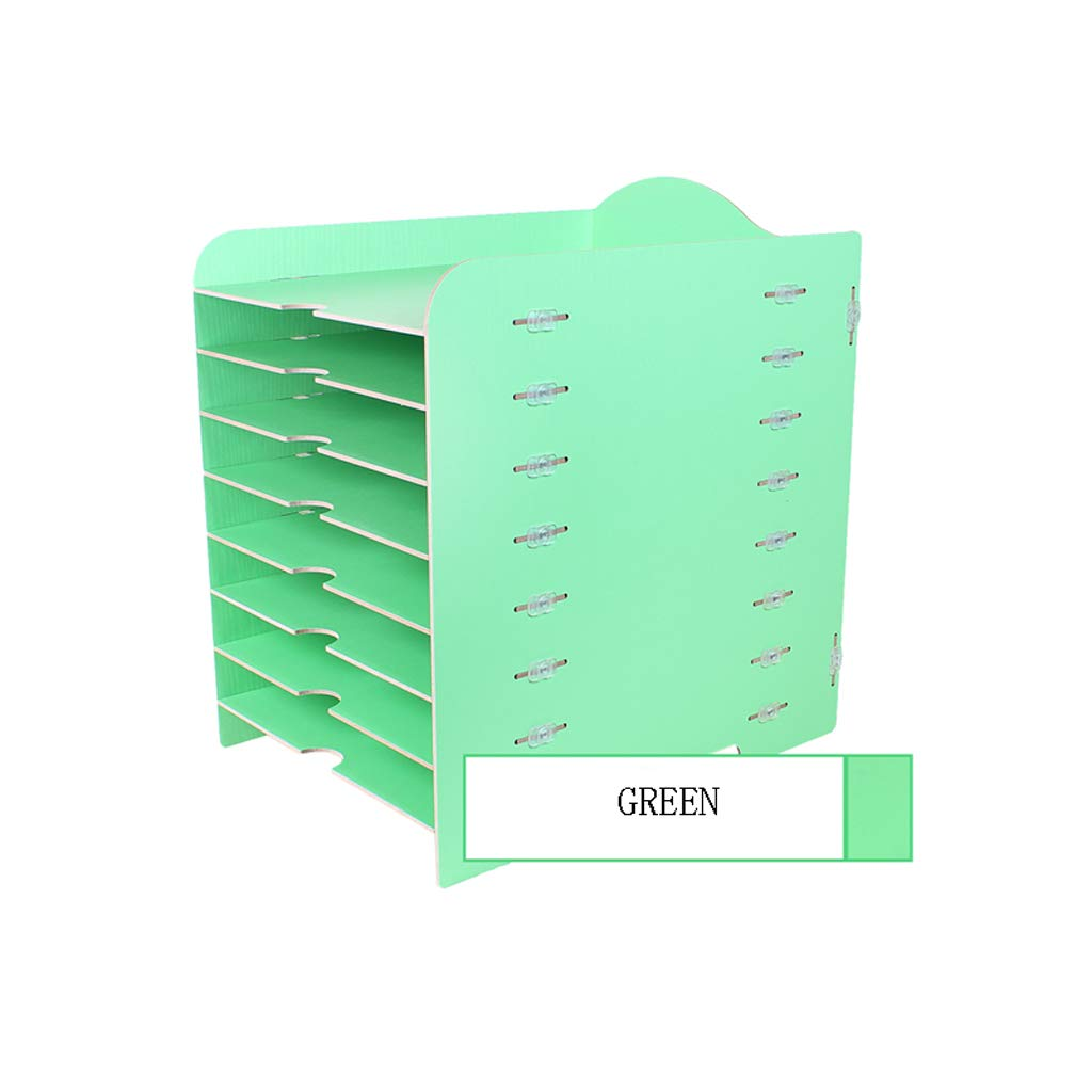 LCSHAN Desktop File Cabinet Creative Desk Surface Wooden Multi-Layer Document Data Cabinet Multi-Function Bill Holder (Color : Green) by File Shelf