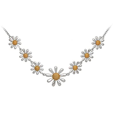 11ed18f199b26 Silver Daisy Necklace with Gold Plated Centres, 925 Sterling Silver,  Adjustable Length