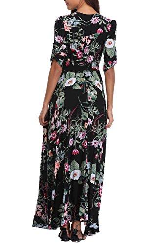 Print Half Black Split VintageClothing Maxi Beach Women's Sleeve Floral Dresses Party 009 Dress Boho 0qxafq7