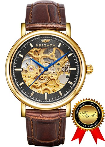BRIGADA Swiss Watches Luxury Gold Watches for Men, Nice Automatic Hollow Mechanical Men's Watch, Great Gift for Families, Lover, Friends or Yourself