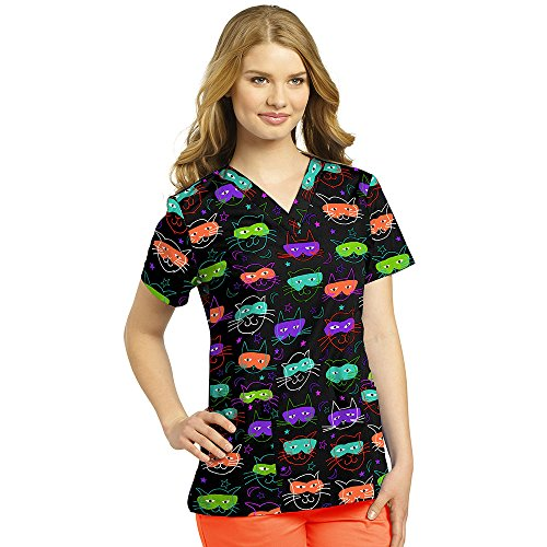 - Allure by White Cross Women's V-Neck Cat Print Scrub Top Small Print