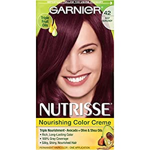 Garnier Nutrisse Nourishing Hair Color Creme, 42 Deep Burgundy (Black Cherry) (Packaging May Vary)