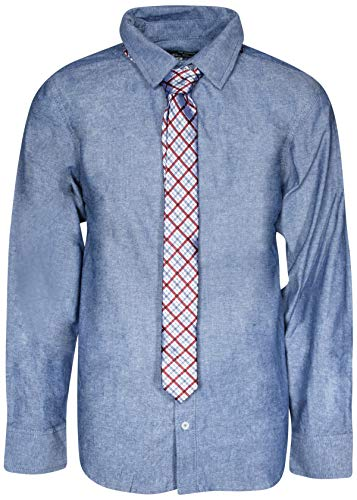 Ben Sherman Boys Long Sleeve Shirt Tie Set, Denim Blue, Size 4'