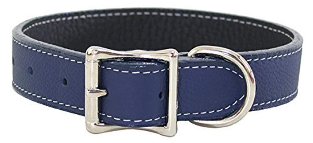 Luxury Italian Leather Tuscany Dog Collar Navy bluee 10