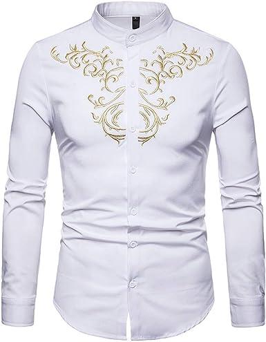Yvelands Camisas para Hombre, Camisas para Hombres Ocasionales Camisa de Manga Larga con Cuello Bordado Estilo étnico ¡Arriba, (Blanco, M): Amazon.es: Ropa y accesorios