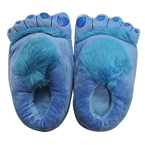 Novelty Funny Furry Hobbit Bigfoot Slippers Indoor Shoes for Adults Men Women (Blue) -